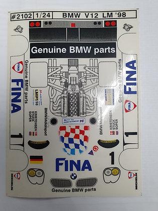 """JK 2102ST 1/24 Decal Sheet - BMW V12 LM'98 """"Fina"""" #1"""
