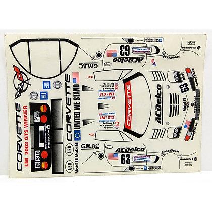 "JK 71131ST 1/24 Decal Sheet - Corvette C5R #63 ""Acdelco"""