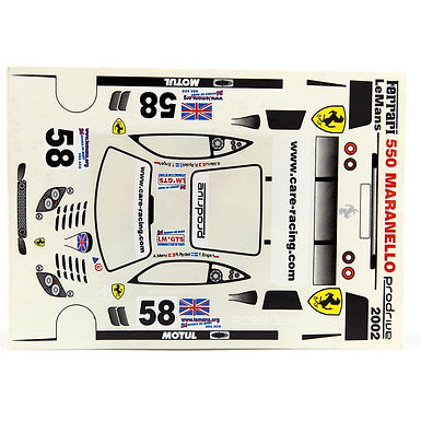 JK-7113ST 1/24 Decal Sheet - Ferrari 550 Maranello #58