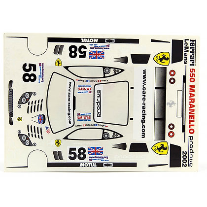JK 7113ST 1/24 Decal Sheet - Ferrari 550 Maranello #58