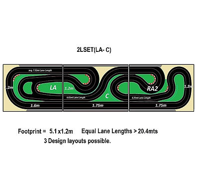 MR TRAX-2LSET(LA-C) Modular Track system - 2 Lanes (3 tables)