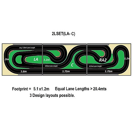 MrTrax 2LSET(LA-C) 2 Lane Modular Track system (3 tables)
