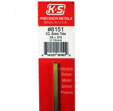 K&S-8151 SQUARE BRASS 1/8 1PC 12 inches long - 1 piece