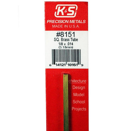 K&S 8151 SQUARE BRASS 1/8 1PC 12 inches long - 1 piece