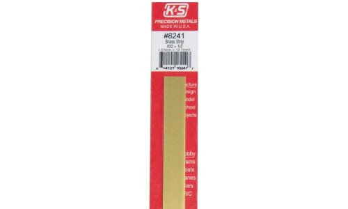 "K&S 8241 0.032 x 1/2"" Brass Strip 12 inches long - 1 piece"
