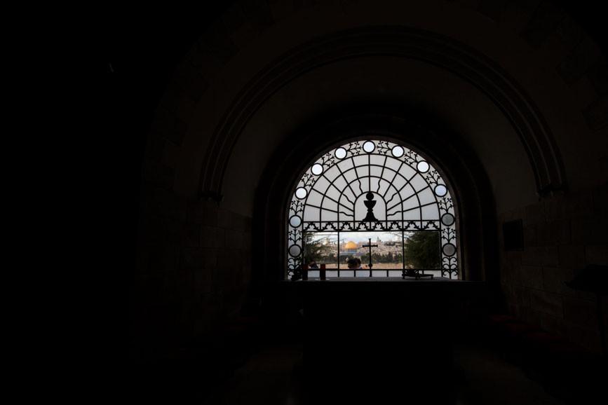 Excepcional vista de Jerusalém à partir do interior de Dominus Flevit