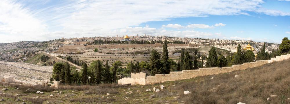 Vista da Cidade Velha de Jerusalém à partir de Dominus Flevit