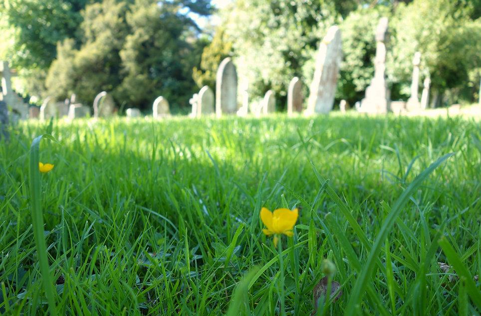 Beutiful blurry photo of church cemetery