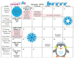 2018-1 January Calendar