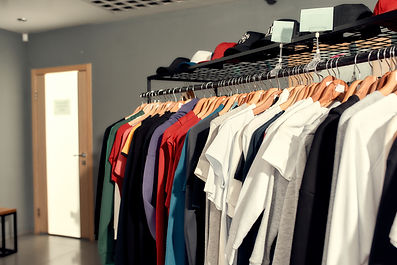 Close up of clothes rack or rail with ba