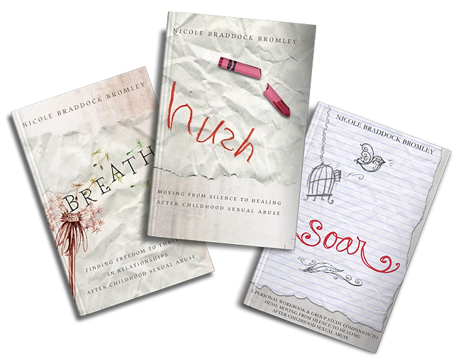 Breathe, Hush, and Soar book covers