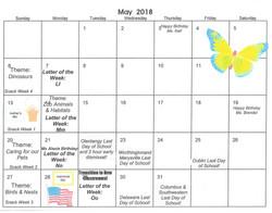 2018-5 May Calendar