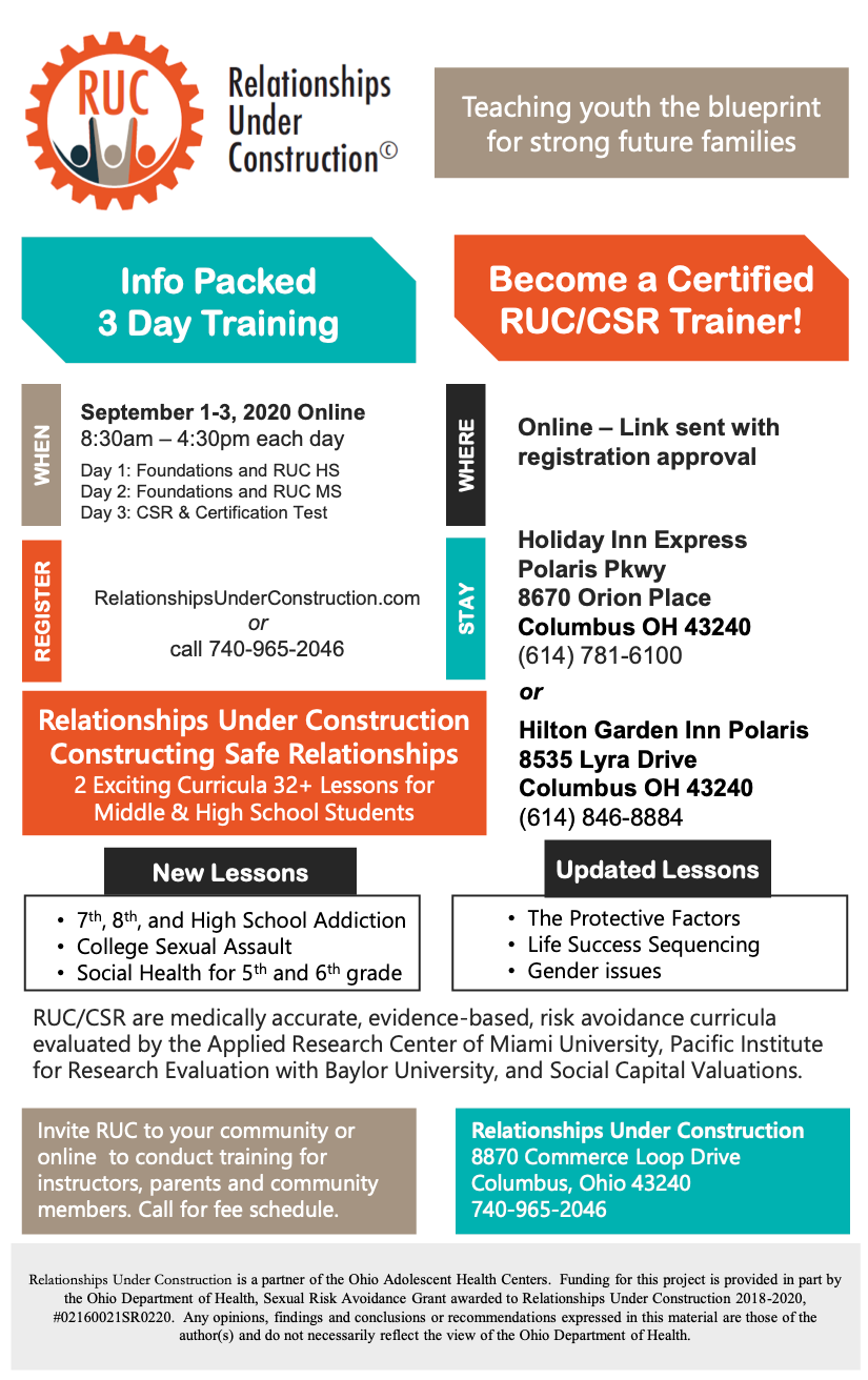 RUC Certification Training Sept 1-3 2020