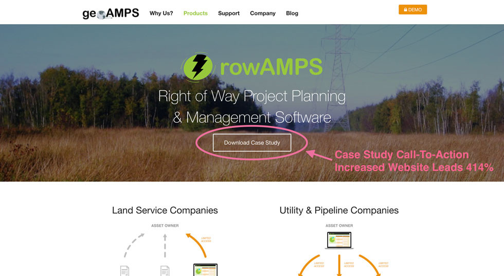 GeoAMPS Website: Case Study Call-To-Action Increased Website Leads 414%