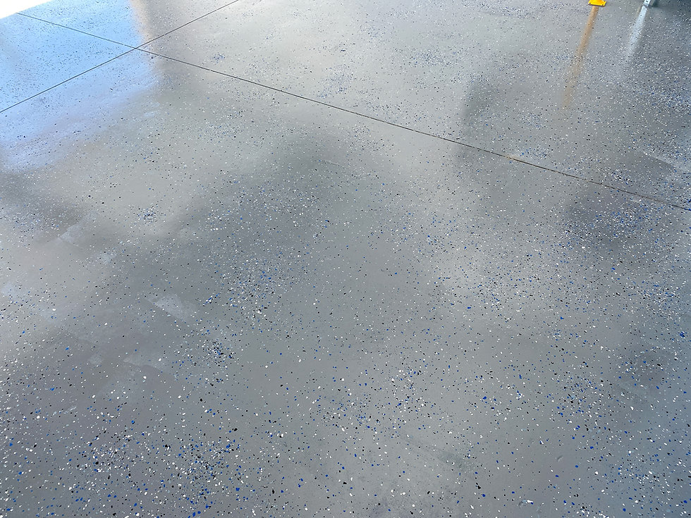 A freshly painted with a gray epoxy fini