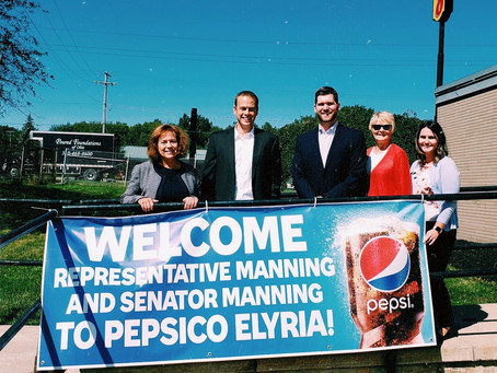 Rep. Gayle Manning and Senator Nathan Manning PepsiCo Beverages North America Elyria Tour
