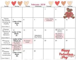 2018-2 February Calendar