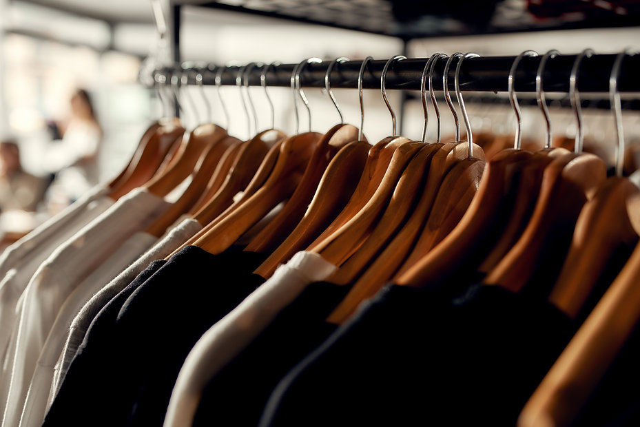 Close up of clothes rack or rail in the