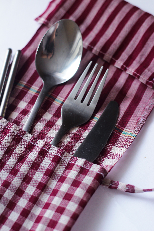 Reusable cutlery set with Khmer Krama case