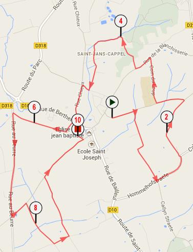 Parcours Ronde de St Jans 10 km