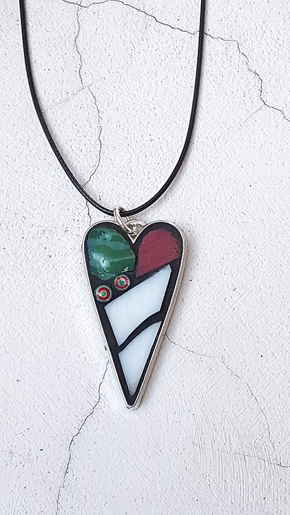 White, Green and Red Heart Pendant