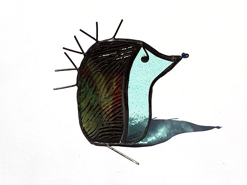 Brown Stained Glass Hedgehog Ornament