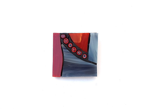 Grey and Red Mosaic Brooch
