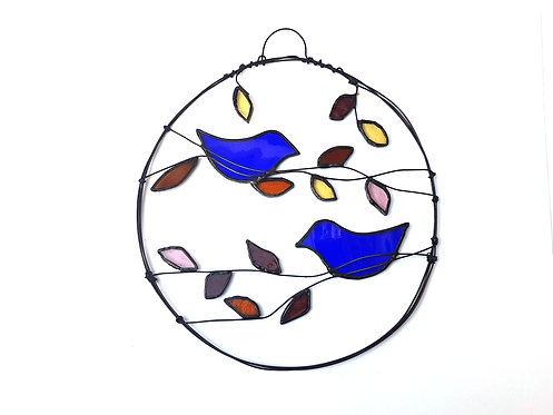 Two Blue Birds with Autumn Leaves