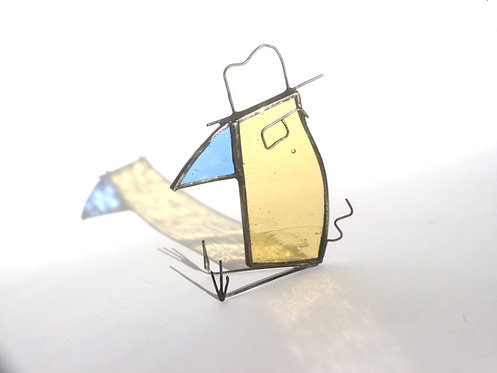 Detective Bird Stained Glass Sun Catcher