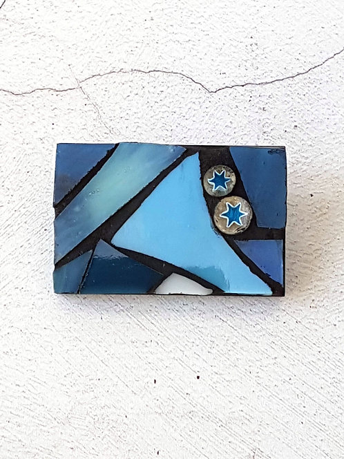 Rectangular Blue Brooch