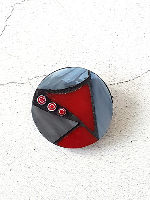 Red and Grey Round Mosaic Brooch