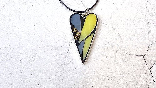 Yellow and Grey Heart Pendant