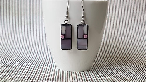 Pink and White Mosaic Earrings
