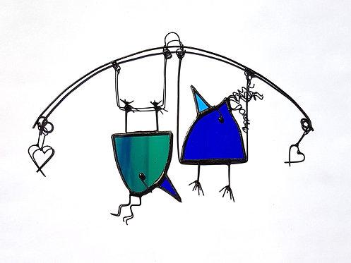 Blue Birds on a Swing