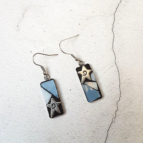 Pale Blue and Star Mosaic Earrings