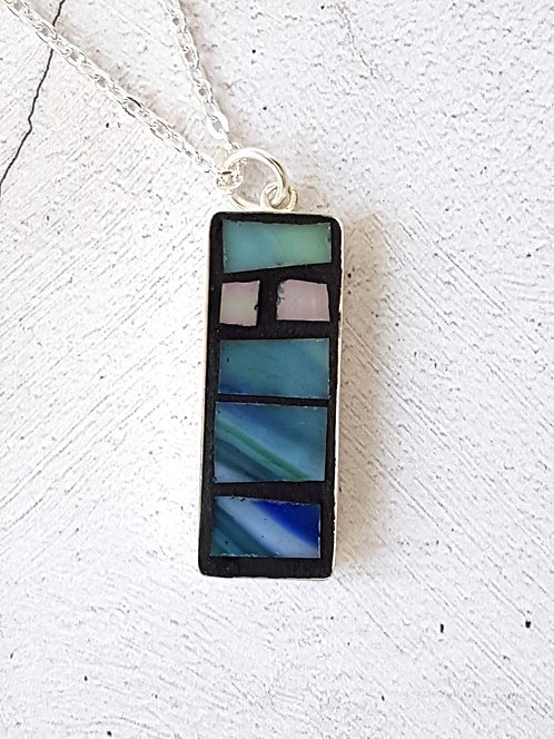 Blue Rectangle Mosaic Pendant