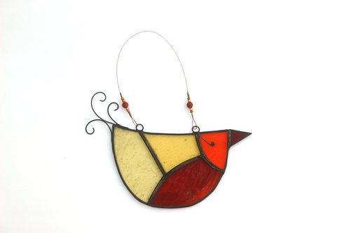 Red, Yellow and Orange Glass U-bird