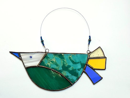 Green Stained Glass Bird