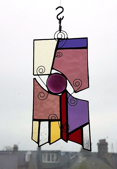 Purple and Yellow Stained Glass Suncatcher