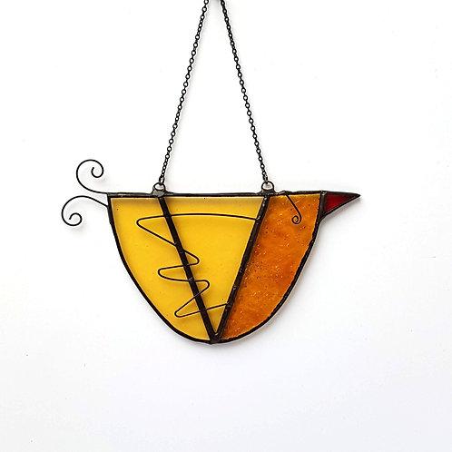 Orange Hanging Glass Bird (right facing)