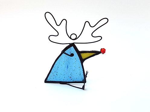 Denim Blue Reindeer Ornament