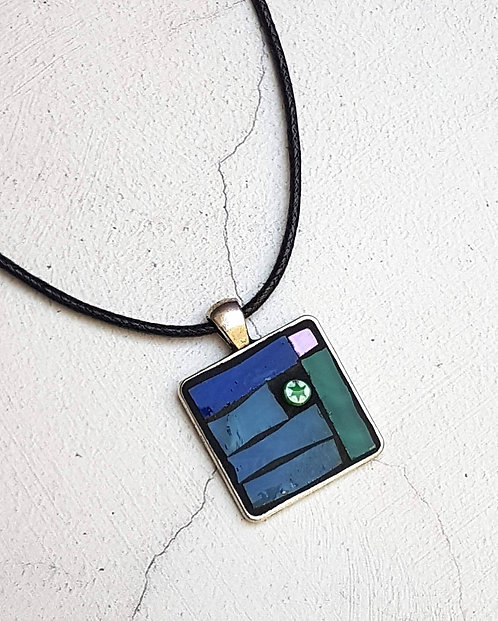 Green and Teal Mosaic Pendant