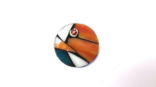 Round Rust Mosaic Brooch