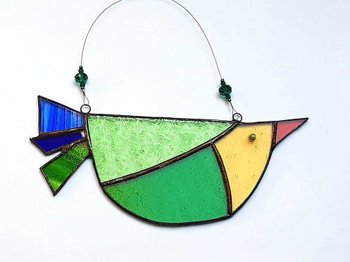 Green and Yellow Stained Glass Bird