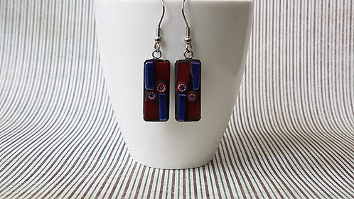 Red and Blue Mosaic Earrings