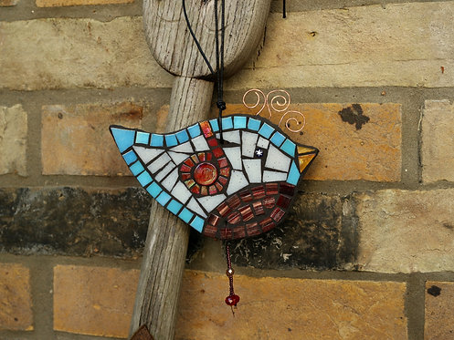 Whimsical Bird Ornament, Garden Mosaic