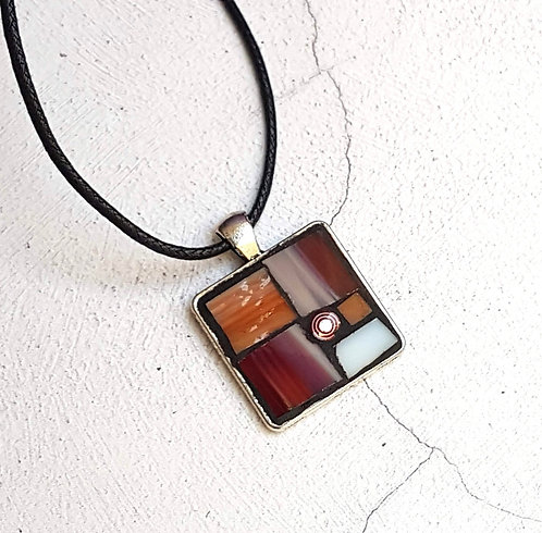 Rust and White Mosaic Pendant