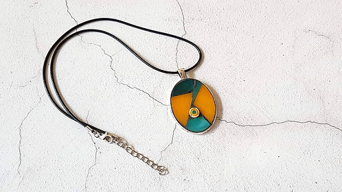 Orange and Teal Oval Mosaic Pendant