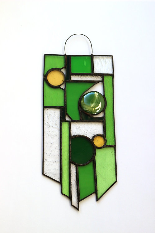 Green and Yellow Stained Glass Suncatcher