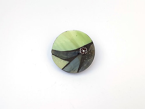 Lime and Grey Mosaic Brooch